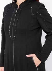 Black - Unlined - Crew neck - Plus Size Coat