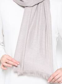 Beige - Plain - Wool Blend - Shawl