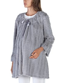 Gray - Crew neck - Cotton - Viscose - Pyjama