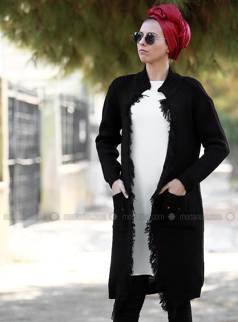 Black - Acrylic - Cardigan