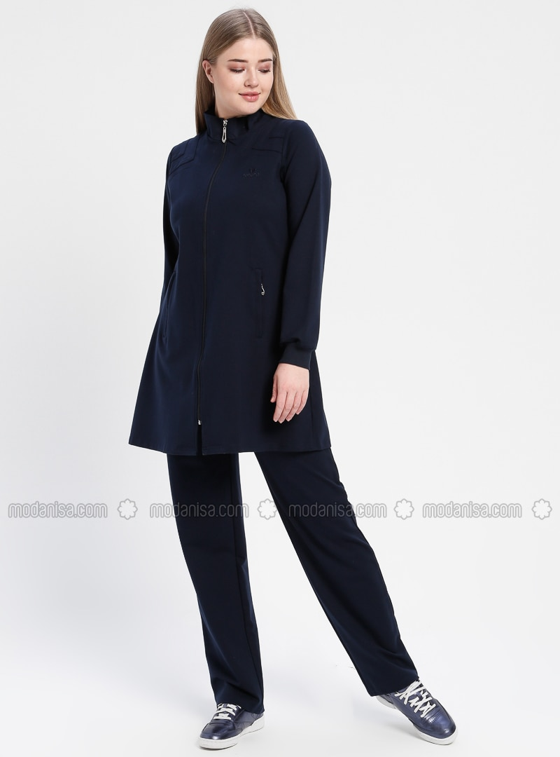 Navy Blue - Polo neck - Tracksuit Set