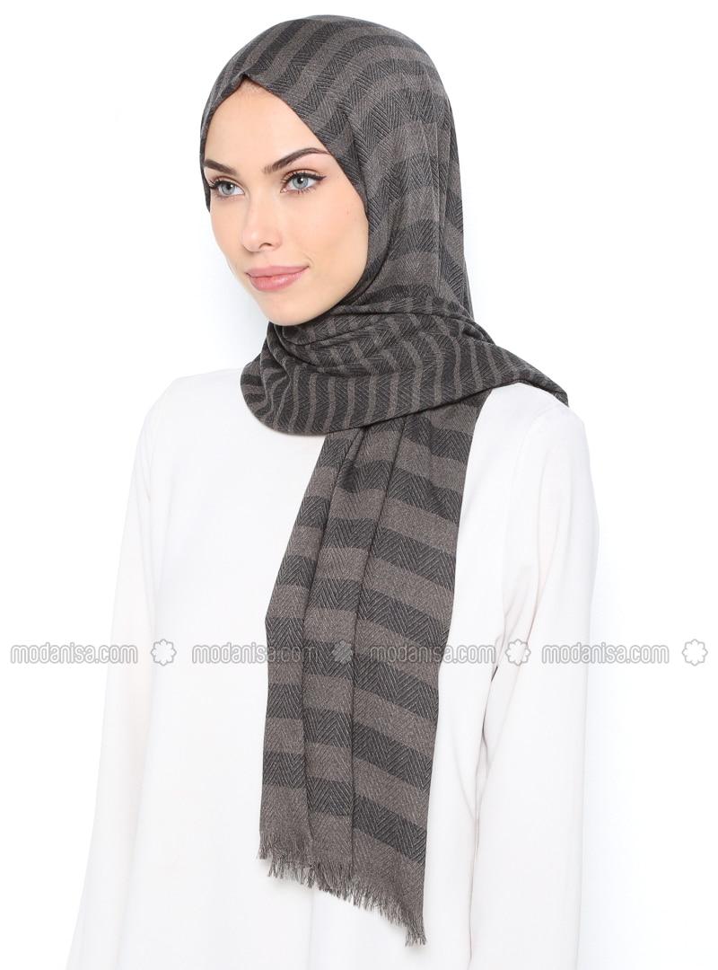 Navy Blue - Minc - Striped - Wool Blend - Shawl