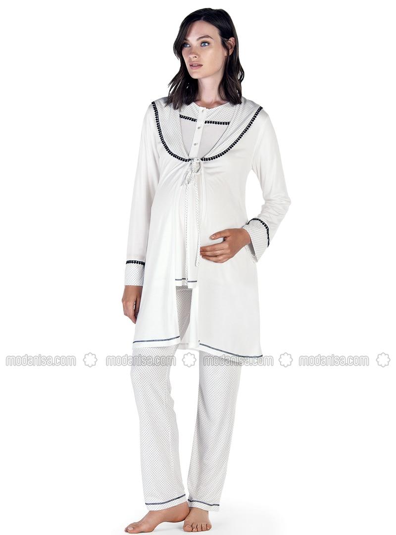 Ecru - Crew neck - Polka Dot - Cotton - Viscose - Pyjama