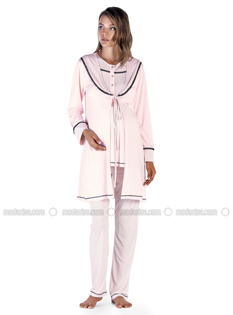 Salmon - Crew neck - Polka Dot - Cotton - Viscose - Pyjama