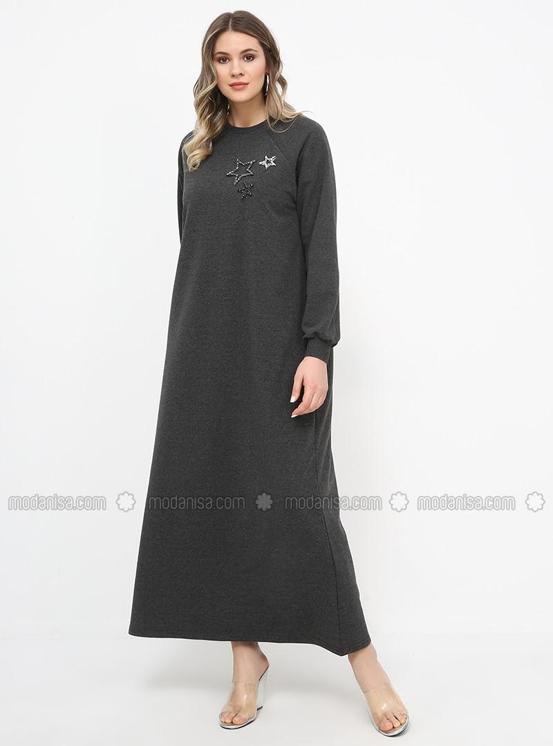 Anthracite - Unlined - Crew neck - Cotton - Plus Size Dress