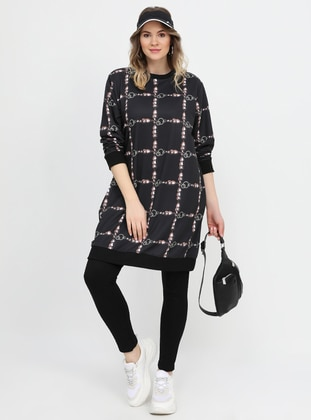 Black - Multi - Crew neck - Plus Size Tunic - Alia