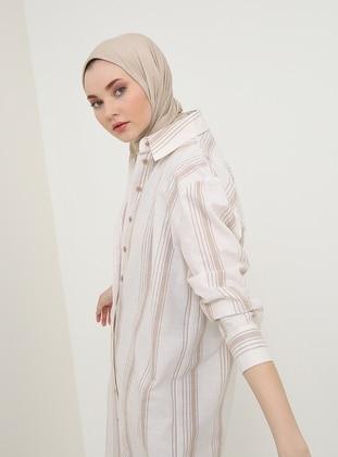 Beige - Stripe - Point Collar - Cotton - Tunic