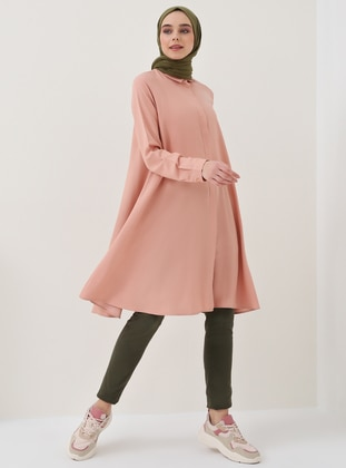 Pink - Point Collar - Cotton - Viscose - Tunic