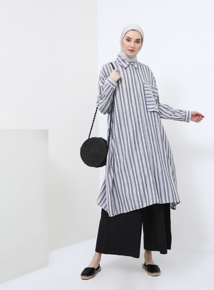 White - Gray - Stripe - Point Collar - Tunic