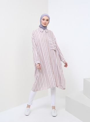 White - Camel - Stripe - Point Collar - Tunic