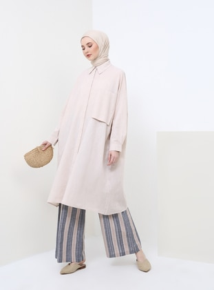 Beige - Point Collar - Cotton - Tunic