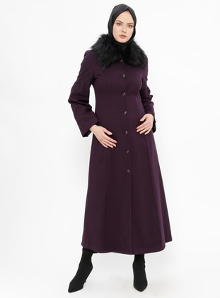 Purple - Fully Lined - Point Collar - Coat