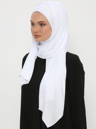 White - Plain - Pinless - Instant Scarf