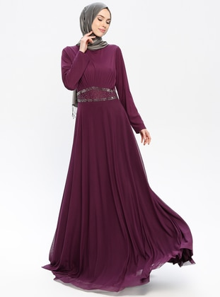 Plum - Crew neck - Fully Lined - Dresses