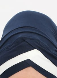 Navy Blue - Cream - Plain - Pinless - Instant Scarf