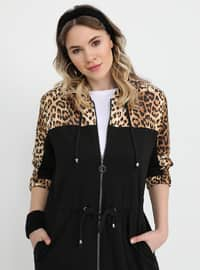 Black - Leopard - Unlined - Plus Size Coat