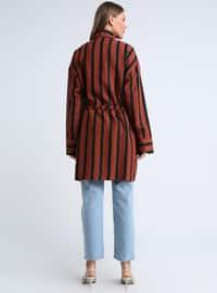 Black - Stripe - Button Collar - Tunic