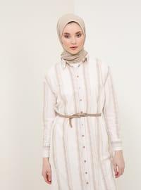 Beige - Stripe - Point Collar - Unlined - Cotton - Dress