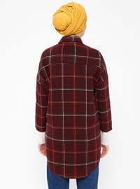 Maroon - Plaid - Point Collar - Tunic