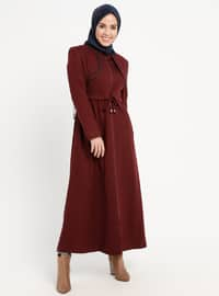 Maroon - Fully Lined - Crew neck - Coat