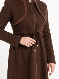 Brown - Fully Lined - Crew neck - Coat