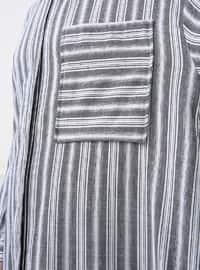 White - Gray - Stripe - Point Collar - Tunic