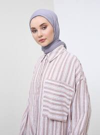 White - Camel - Stripe - Point Collar - Tunic