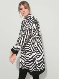 Black - White - Zebra - Polo neck - Plus Size Tunic