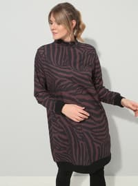 Black - Brown - Zebra - Polo neck - Plus Size Tunic