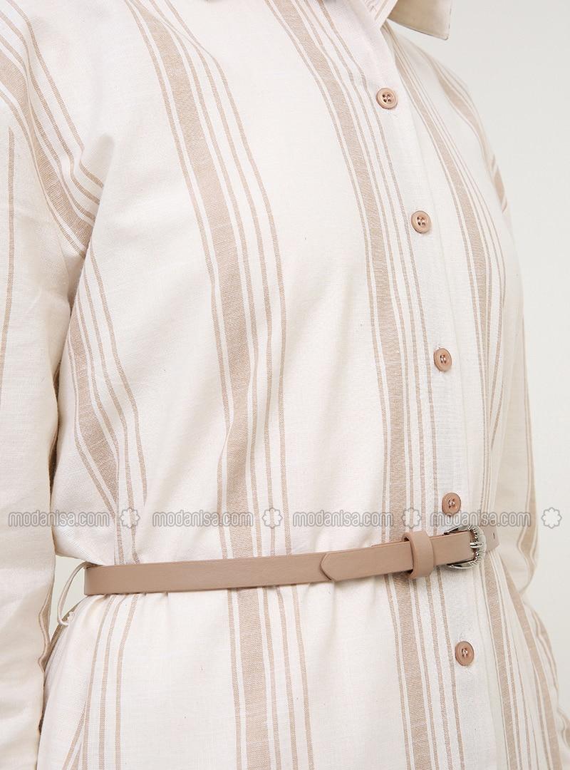 d2713a59bb80e Beige - Stripe - Point Collar - Unlined - Cotton - Dress