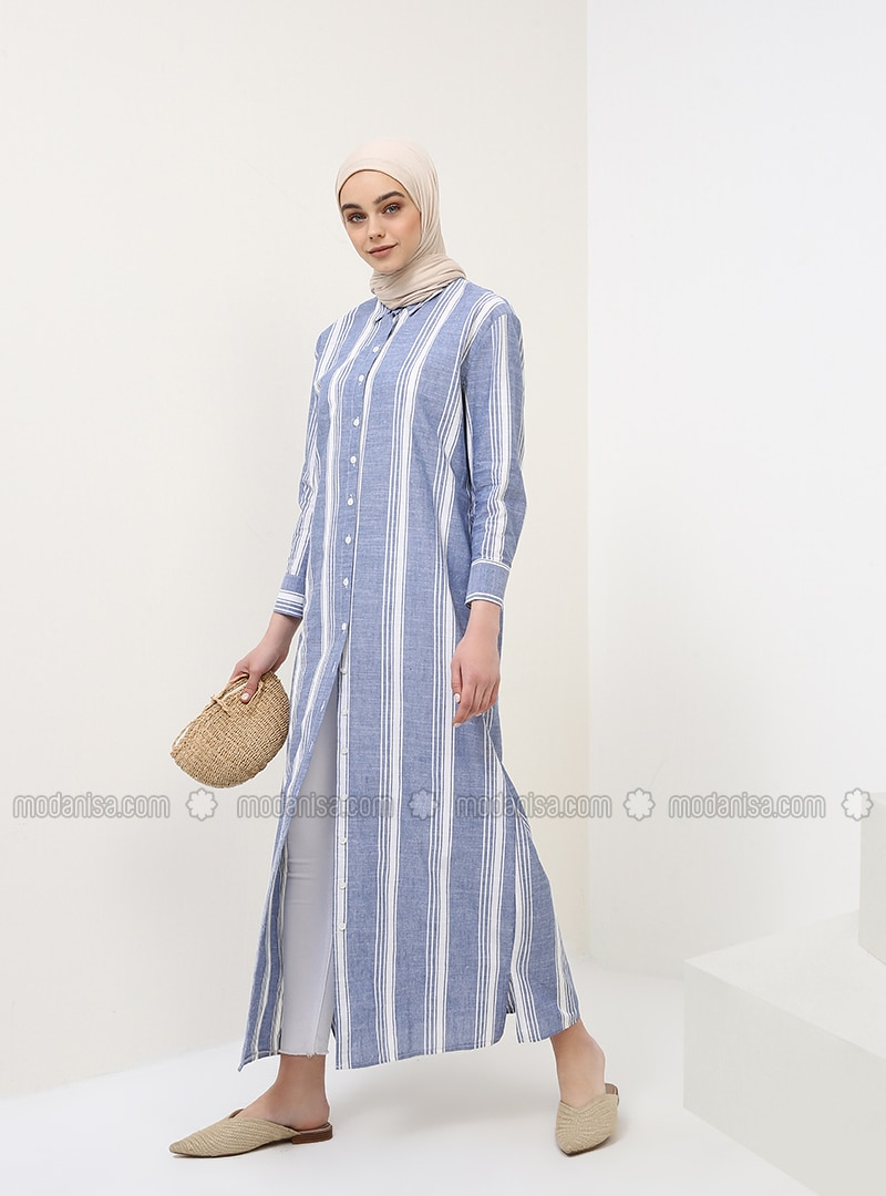 Navy Blue - Stripe - Point Collar - Unlined - Cotton - Dress