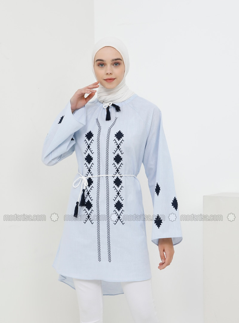 Blue - Crew neck - Cotton - Tunic