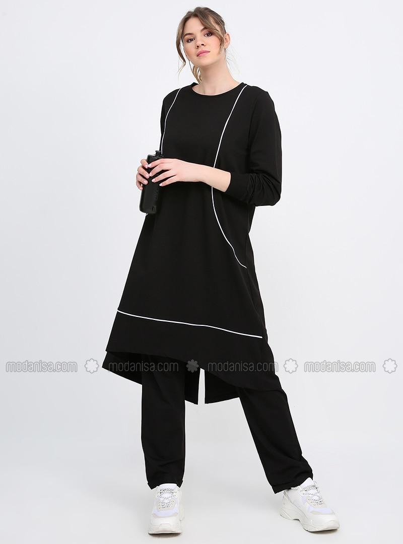 Black - White - Ecru - Plus Size Tracksuit