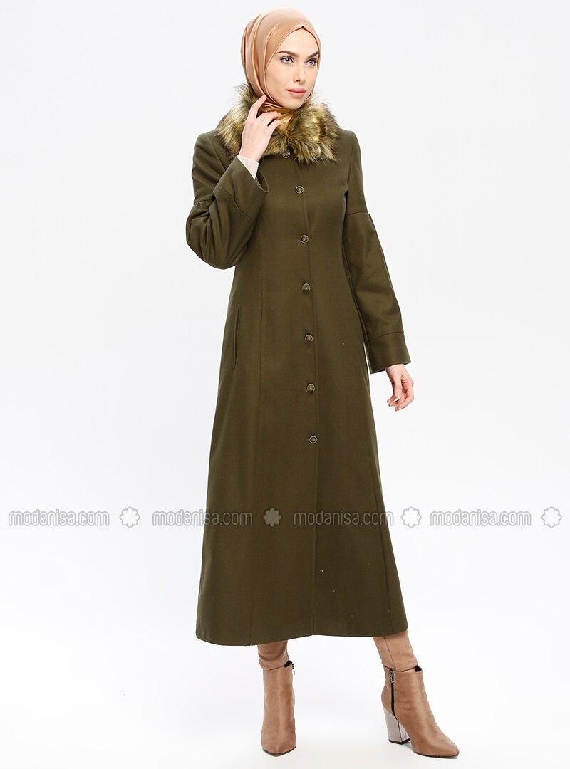 Khaki - Fully Lined - Point Collar - Coat