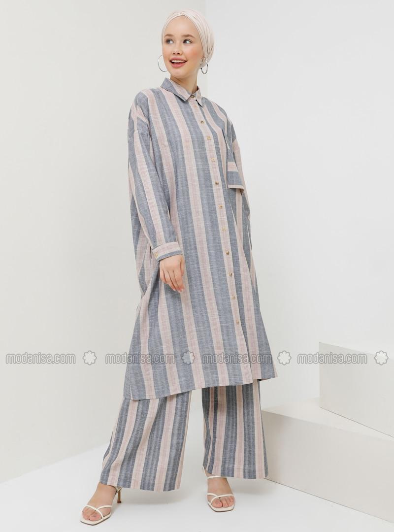 Gray - Beige - Stripe - Pants