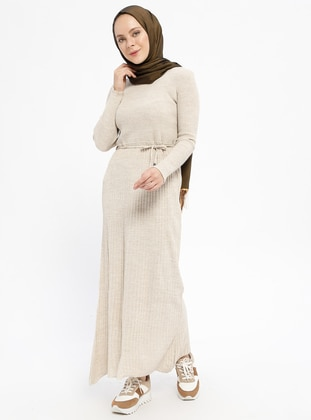 Cream - Crew neck - Unlined - Wool Blend -  - Dresses