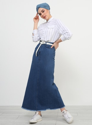 Blue - Unlined - Denim - Skirt - Refka