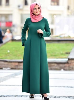 Green - Crew neck - Viscose - Dresses