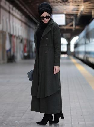 Khaki - Shawl Collar - Coat