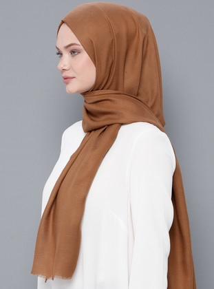 Beige - Plain - Wool Blend - Modal - Shawl