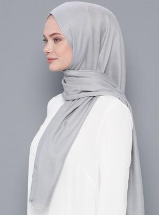 Gray - Plain - Wool Blend - Modal - Shawl