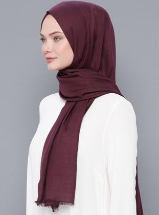 Plum - Plain - Wool Blend - Modal - Shawl