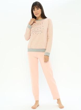 Salmon - Crew neck - Stripe - Cotton - Pyjama