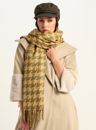 Camel - Printed - Shawl Wrap - GINA LOREN