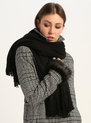 Black - Printed - Shawl Wrap - GINA LOREN