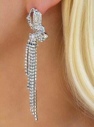 Takıştır Bijuteri Taşlı Uzun Küpe - Gümüş