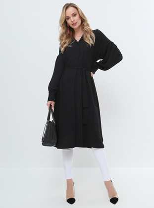 Black - Point Collar - Cotton - Tunic - Everyday Basic