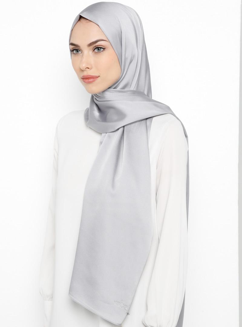 Tesettür Şal Balse Eşarp Gümüş Kadın Standart