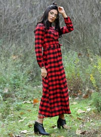 Red - Plaid - Point Collar - Unlined - Dresses