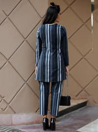 Navy Blue - Stripe - Unlined - Suit